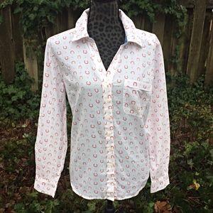 Style & Co. White Horseshoe Cowboy Shirt
